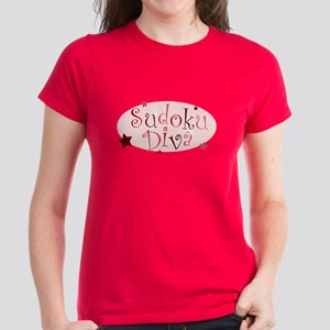 """""""Sudoku Diva"""" [red] Women's Dark T-Shirt"""